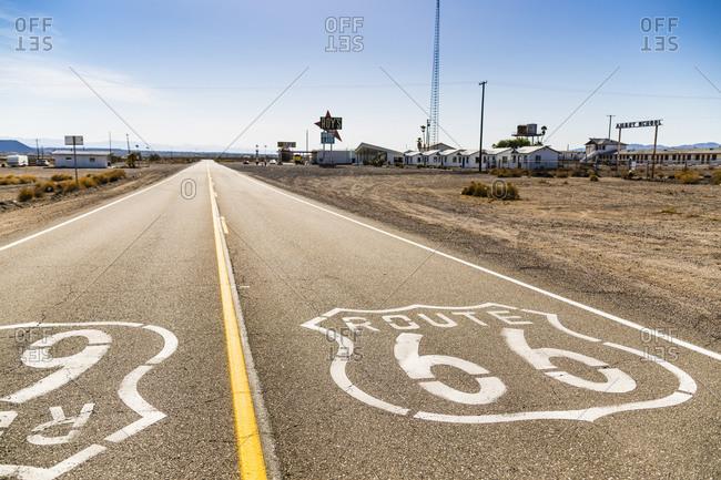 June 7, 2016: Route 66 through Amboy, Mojave Desert, San Bernadino County, California, USA