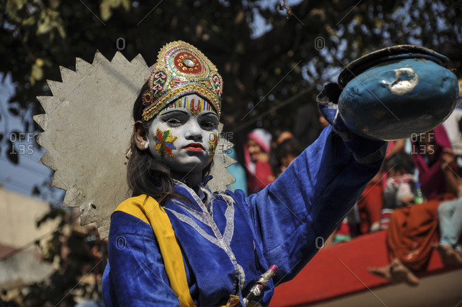 June 8, 2020: Child with Shiva costume during Maha Shivaratri Kid Parade, Varanasi, India