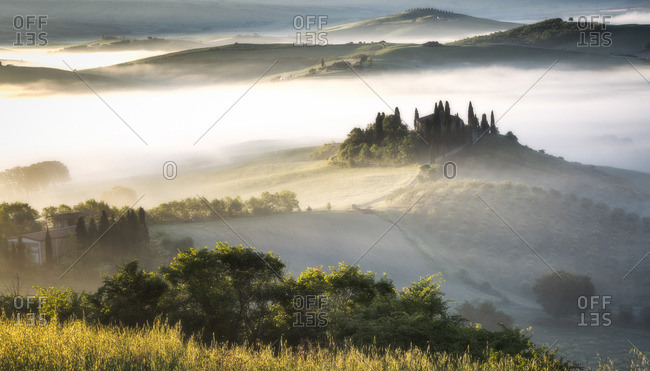 May 10, 2017: Podere Belvedere estate in the landscape of Val dniOrcia, Tuscany, Italy