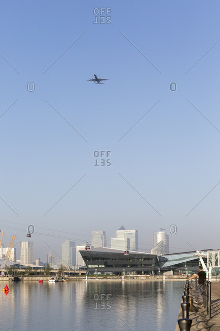 September 10, 2015: Landing approach to City Airport London, ExCel Marina, London, United Kingdom