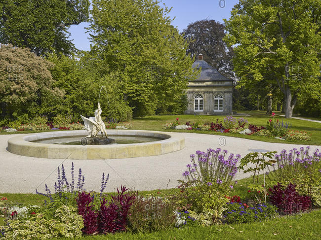 September 10, 2016: Fantaisie Palace Park with fountain and pavilion, Eckersdorf, Upper Franconia, Germany