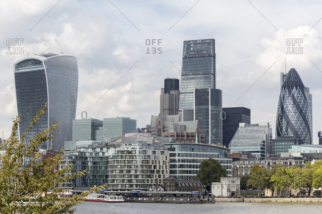 September 11, 2015: Skyscrapers in the financial district of the City of London, UK