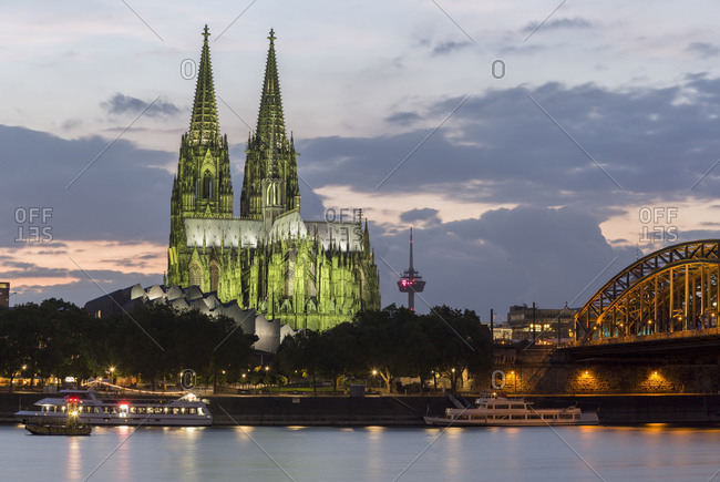 September 25, 2015: Cologne Cathedral and Hohenzollern Bridge, old town, Cologne, North Rhine-Westphalia, Germany