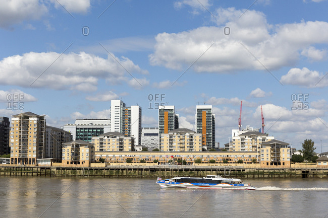 September 6, 2015: New development area on the Isle of Dogs, Docklands, London, UK