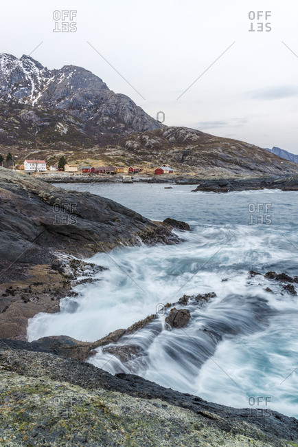 The abandoned fishing village of Nesland at the south end of Flakstadoy, Lofoten, Norway