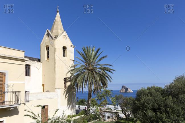 The church of San Pietro on the island of Panarea, Aeolian Islands, Sicily, Italy
