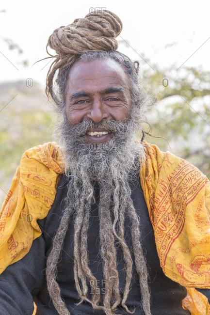 February 14, 2016: Sadhu portrait, Galtaji, Galta Ji, monkey temple complex, near Jaipur, Rajasthan, India