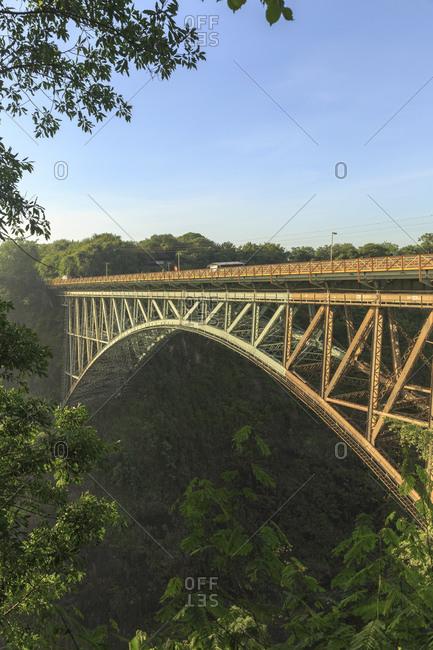 February 6, 2015: Victoria Falls Bridge below Victoria Falls, border between Zimbabwe and Zambia, Africa