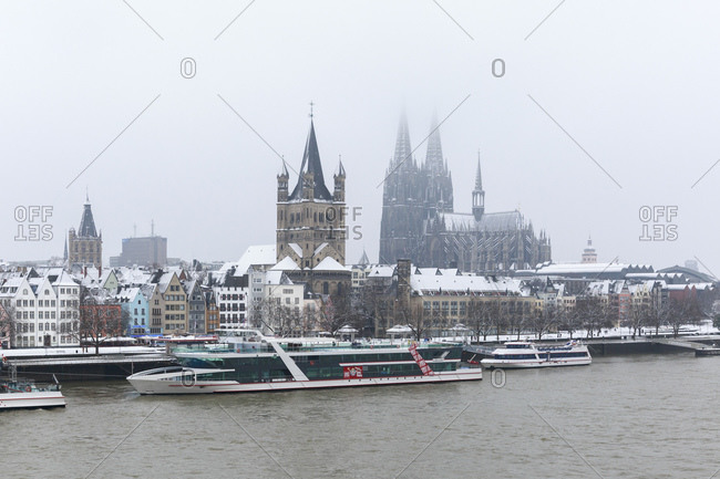 January 24, 2015: Cologne Cathedral and Gross St Martin, old town, Cologne, North Rhine-Westphalia, Germany