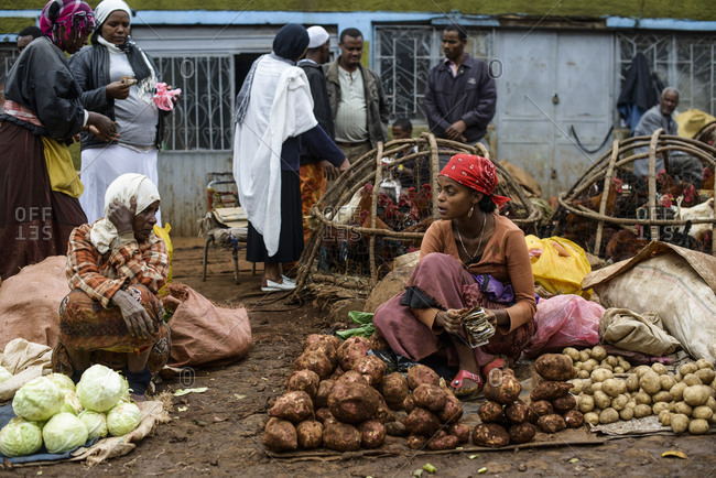 July 19, 2014: The streets and stands of the giant Mercato of Addis Ababa, Ethiopia