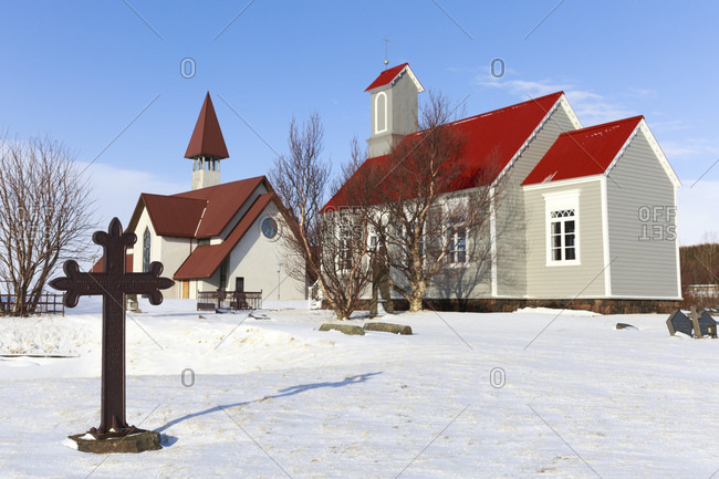 March 11, 2015: Modern church and church from the 19th century in Reykholt, Vesturland, Iceland