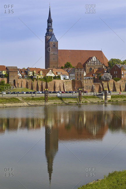 May 19, 2016: City view from the harbor with St. Stephen's Church, Tangermunde, Saxony-Anhalt, Germany