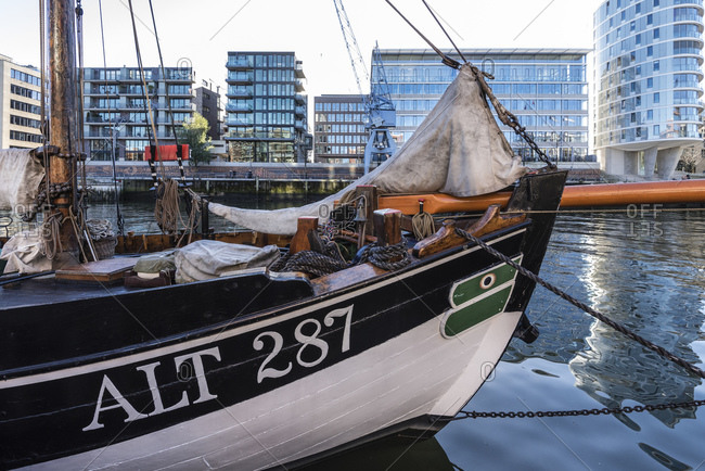 November 27, 2016: Historic ships and sailors in the traditional ship harbor, Hafencity, Hamburg, Germany