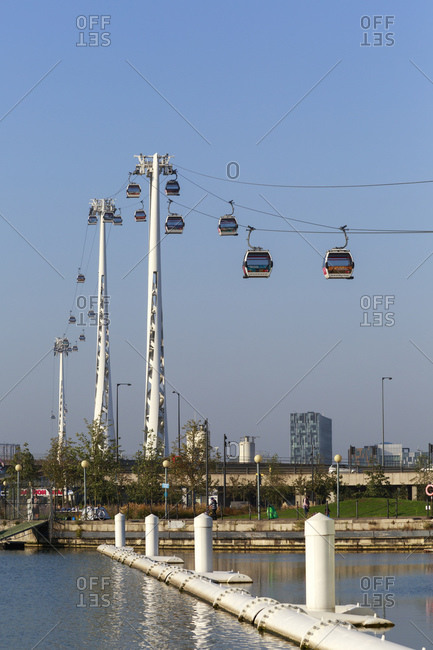 September 10, 2015: Emirates Royal Docks Station, Emirates Air Line, gondola lift, London, United Kingdom