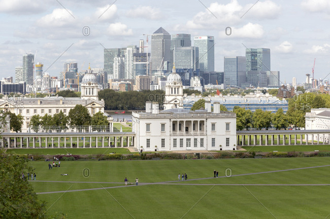 September 13, 2015: National Maritime Museum, Greenwich and Canary Wharf office building complex, London, UK