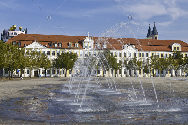 September 25, 2016: State Parliament building with water features on the Domplatz, Magdeburg, Saxony-Anhalt, Germany