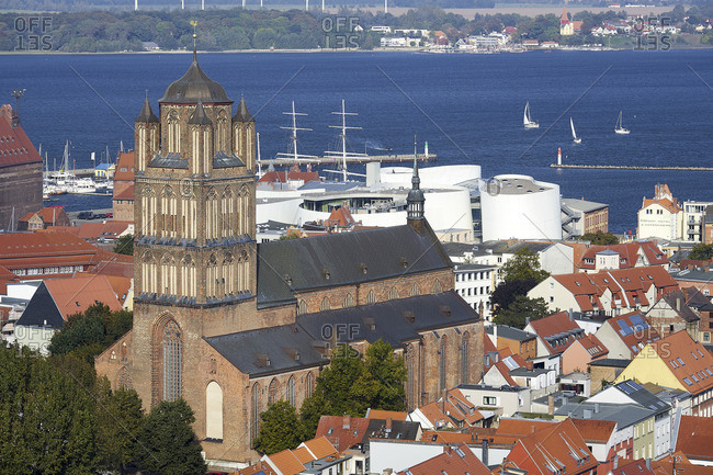 September 29, 2017: View from the Marienkirche to the church St. Jakobi with Oceaneum, Mecklenburg-Vorpommern, Germany