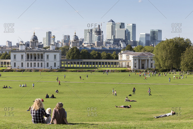 September 6, 2015: National Maritime Museum, Greenwich and Canary Wharf office building complex, London, UK