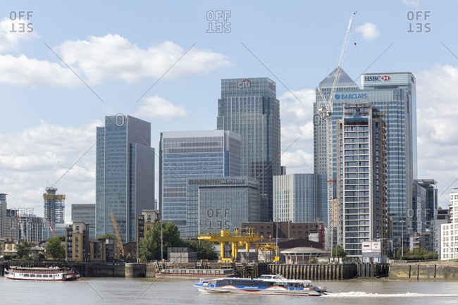 September 6, 2015: Skyscrapers at Canary Wharf, Isle of Dogs, Tower Hamlets, Docklands, London, UK