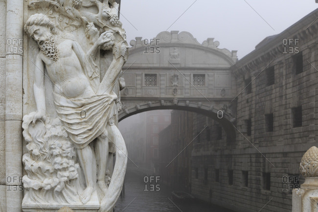 The Bridge of Sighs connects the Doge's Palace and the Prigioni nuove in Venice, Italy