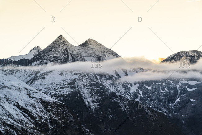 The Sonnenwelleck of the Glockner Group in the Hohe Tauern National Park at sunset, Austria