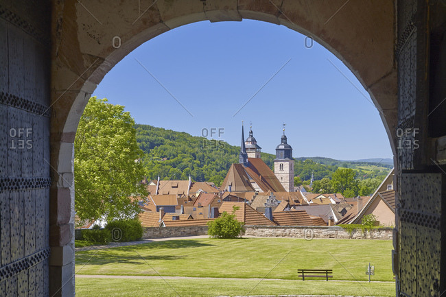 View from castle Wilhelmsburg to the town church St. Georg in Schmalkalden , Thuringia, Germany