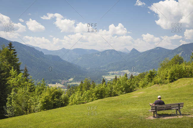 View from Riederstein to the village of Rottach Egern and the Weissachtal, Bavaria, Germany, Europe