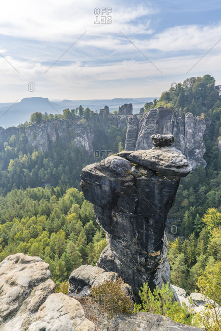 View from the little goose rock to Bastei and Lilienstein, Elbe Sandstone Mountains, Saxony, Germany