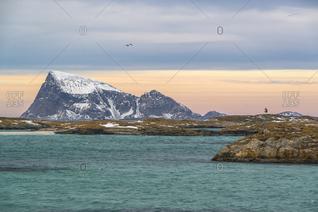 Coastal landscape on the island of Sommaroy with a view of the island of Haja, Norway