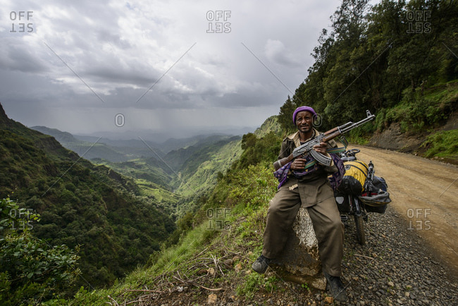 June 17, 2014: Villager voluntarily protects his piece of land from bandits, protecting Simien Mountains, Ethiopia
