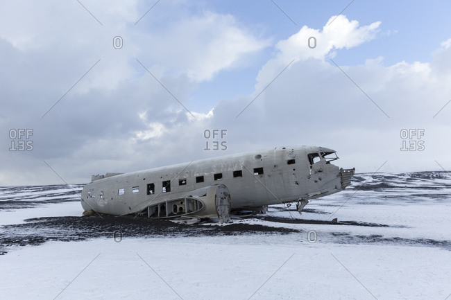 March 8, 2015: Airplane wreckage of a US Navy Douglas Super DC-3 on the Icelandic coast