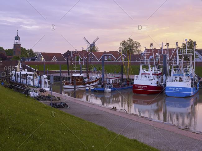 May 20, 2016: Harbor in Ditzum an der Ems, Ditzum, Jemgum, East Frisia, Lower Saxony, Germany
