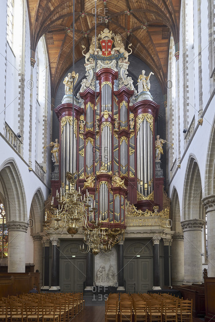 September 12, 2017: The Great or St. Bavo church with Muller organ, Haarlem, North Holland, Netherlands