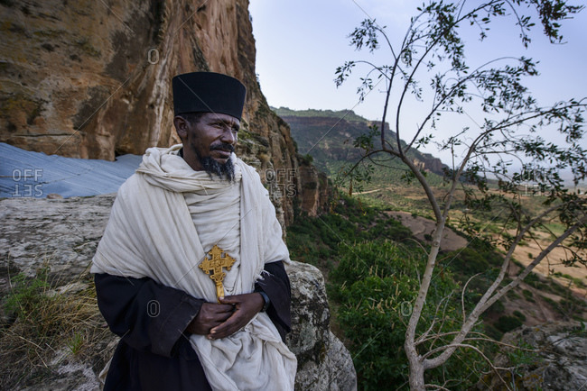 June 26, 2014: Priest of the Ethiopian Orthodox Church at the Abba Yohanni Rock Church, Tigray, Ethiopia