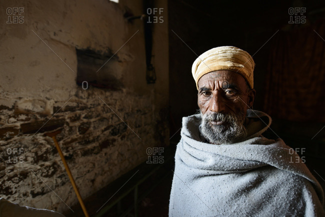 June 26, 2014: Priest of the Ethiopian Orthodox Church in the Abba Yohanni Rock Church, Tigray, Ethiopia