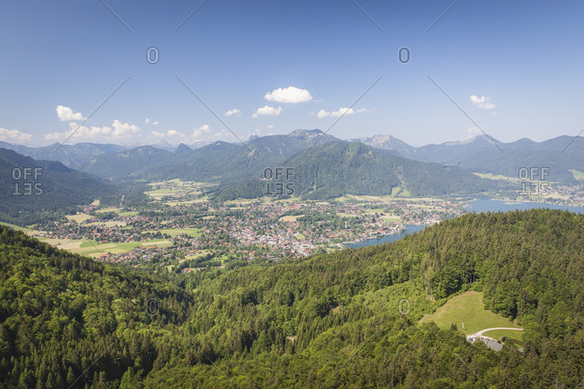 View from Riederstein to the Tegernsee, the village of Rottach Egern and the Weissachtal, Bavaria, Germany, Europe