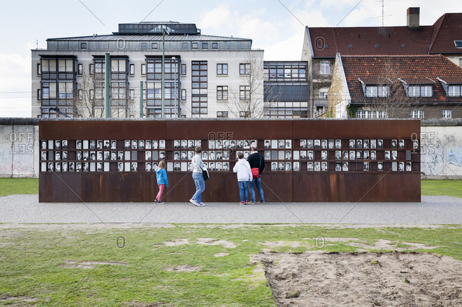 April 18, 2015: Portraits of wall victims, Berlin Wall Memorial, Bernauer Strasse, Wedding border, Berlin Mitte, Germany, Europe
