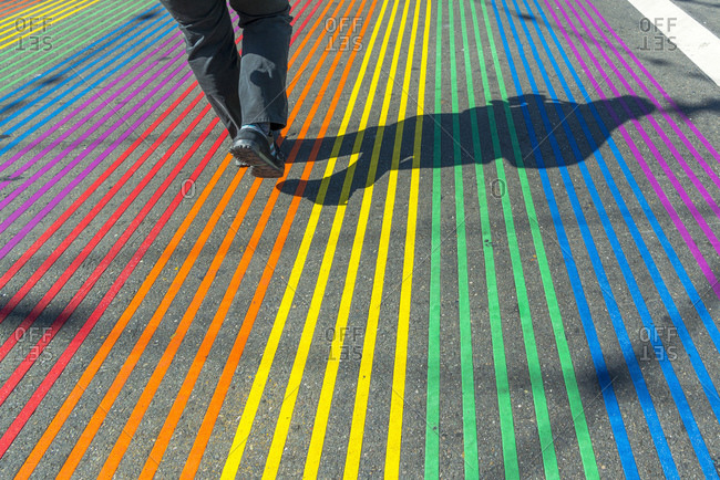 May 27, 2016: Rainbow colored pedestrian crossing in The Castro lesbian and gay area, San Francisco, California, USA