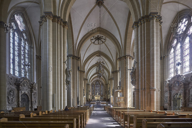 September 11, 2017: View through the nave to the high choir in the cathedral, Paderborn, North Rhine-Westphalia, Germany