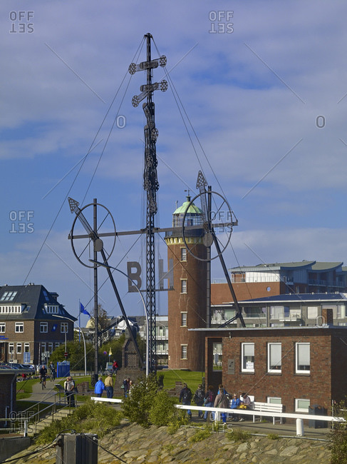 September 27, 2014: Hamburger Turm and Windsemaphor at the pier Alte Liebe am Hafen, Cuxhaven, Lower Saxony, Germany