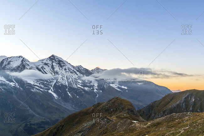 View from the Grossglockner High Alpine Road to the mountains of the Glocknergruppe, Hohe Tauern National Park, Austria