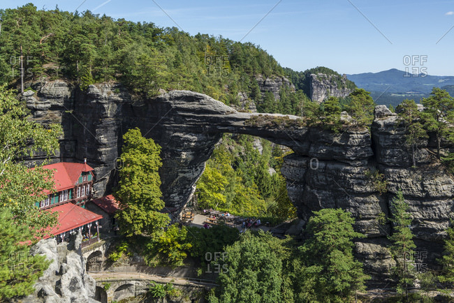August 30, 2016: Prebischtor, largest natural rock gate in Europe, Bohemian Switzerland National Park, Elbe Sandstone Mountains, Czech Republic