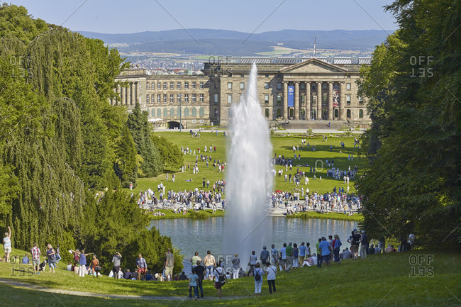 August 31, 2016: Large fountain of the water features in the Wilhelmshohe mountain park with castle, Kassel, Hesse, Germany