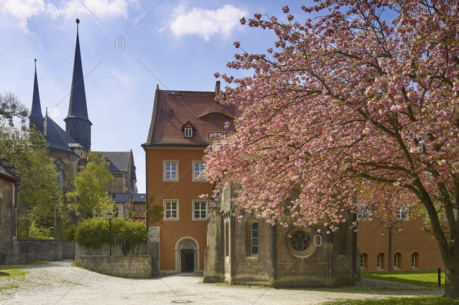 Monastery church and abbey chapel with entrance to the Princely House, Pforta Monastery in Schulpforte, Bad Kosen, Saxony-Anhalt, Germany