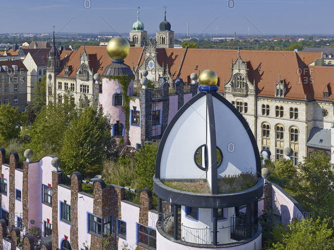 September 25, 2016: View from the Green Citadel to the Alte Post and Cathedral Sankt Sebastian, Magdeburg, Saxony-Anhalt, Germany
