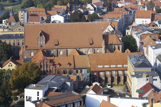 September 29, 2017: View from St. Mary's Church to St. Catherine's Monastery, Cultural History Museum, Stralsund, Mecklenburg-Western Pomerania, Germany