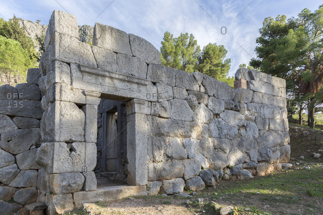 Traces of prehistoric and ancient times on the castle hill of the city, Rocca di Cefalo, Cefalo, Sicily, Italy