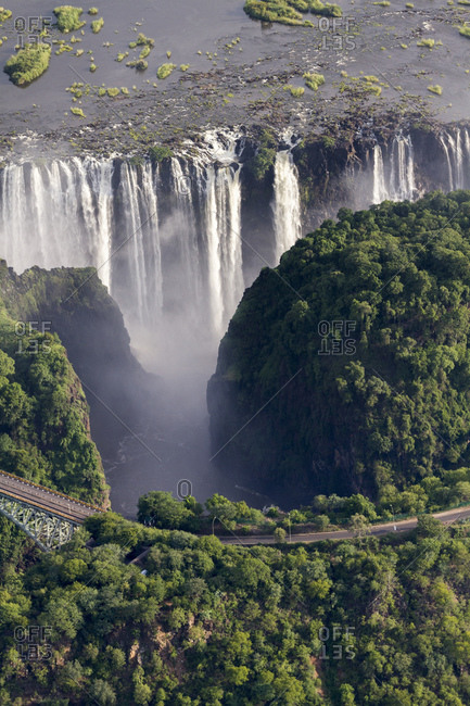 Victoria Falls of the Zambezi between the border towns of Victoria Falls in Zimbabwe and Livingstone in Zambia, Africa
