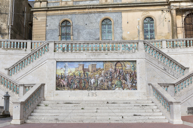 October 23, 2014: At the end of the open staircase Santa Maria del Monte with ceramic steps, Caltagirone, Sicily, Italy
