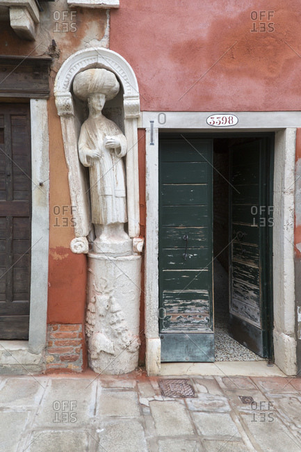 On the Campo dei Mori, figures decorate the facades, indicating the former owners' trade relations with the Orient, Venice, Italy
